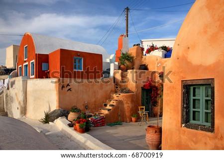 Foinikia village in Santorini island - stock photo