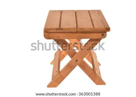 Foldable Wooden Stool Isolated On White Background   - stock photo