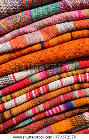 Folded Andean Woven Wool Textiles - stock photo