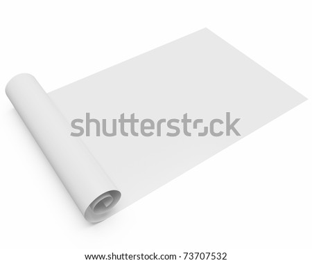 folded blank scroll of paperblueprint isolated over white background with slight shadow