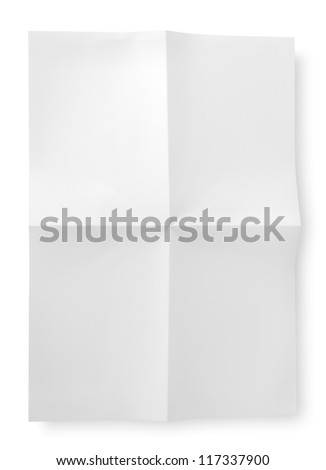 Folded blank sheet of paper - stock photo