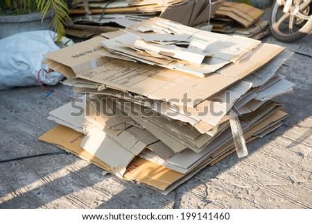 Folded Cardboard Used Boxes - stock photo
