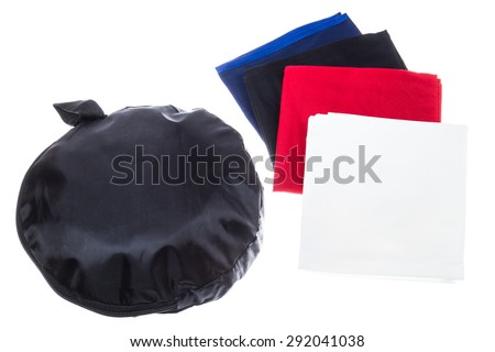 Folded Cube Light Tent with colored Backdrops. Photo studio shooting - stock photo