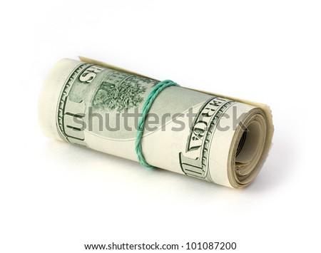 folded dollars - stock photo