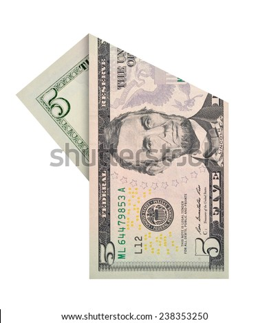Folded five dollars bill isolated on white background - stock photo