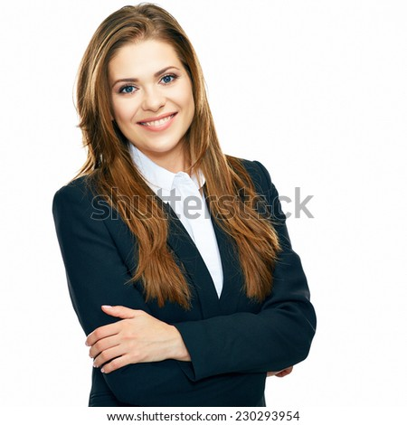 folded hands . business portrait of smiling woman. white background isolated. - stock photo