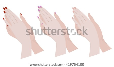 folded hands with different nail Polish. Rasterized Copy - stock photo