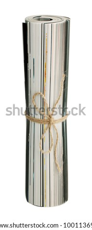 Folded magazine tied with twine on a white background - stock photo