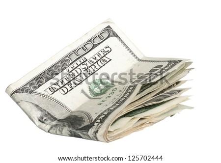 Folded money - stock photo