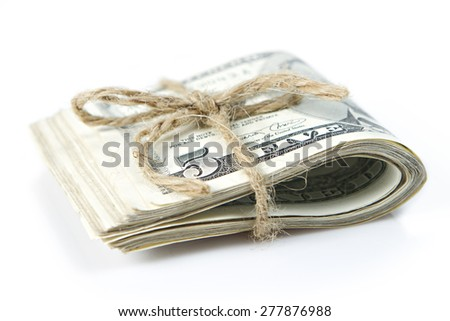 Folded of dollar bills - stock photo