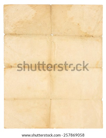 Folded old paper - stock photo