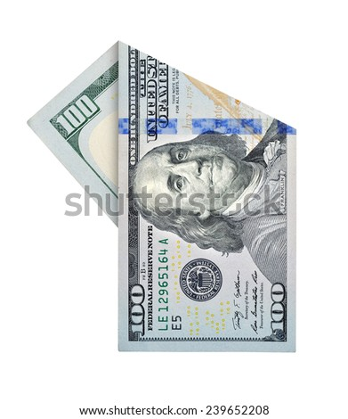 Folded one hundred dollars bill isolated on white background - stock photo
