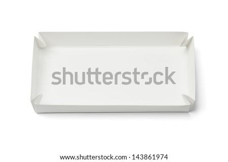 Folded Paper Tray On White Background - stock photo