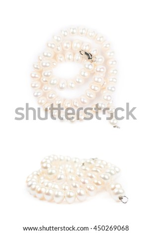 Folded pearl necklace isolated over the white background, set of two different foreshortenings