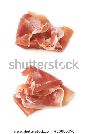 Folded prosciutto ham slice isolated over the white background, set of two different foreshortenings