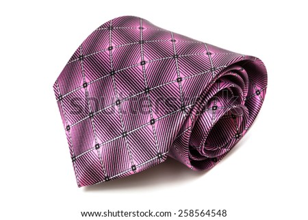 folded purple tie on a white background - stock photo