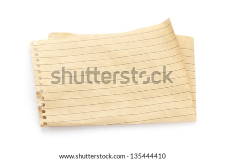 folded recycled brown sheet of paper in line isolated on white