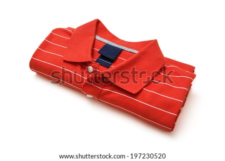 Folded red polo t-shirt isolated on white -Clipping Path - stock photo