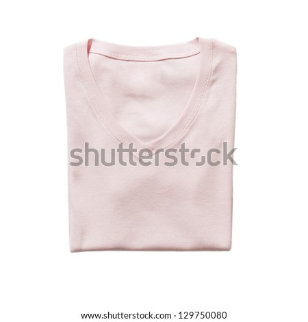 Folded rose t-shirt isolated on white - stock photo
