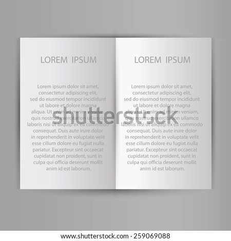 Folded sheet of paper blank brochure template. Ready for a text.  illustration  - stock photo