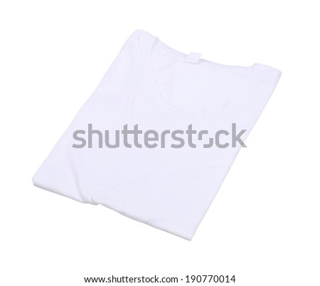folded t-shirt isolated on white background (with clipping path) - stock photo