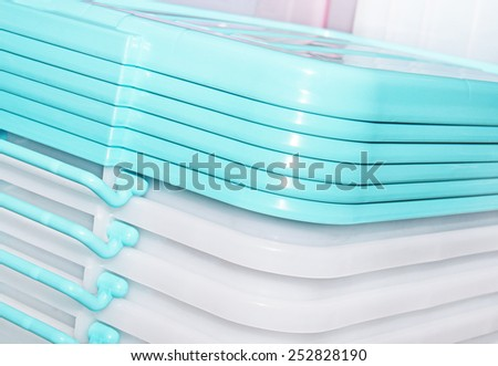 folded transparent plastic containers - stock photo