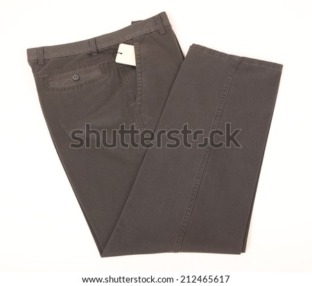 folded trousers isolated on white background