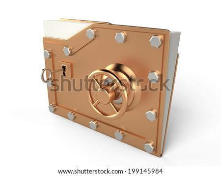 Folder and lock, 3D - stock photo