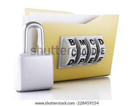 folder and lock. Data security concept. 3d illustration ...