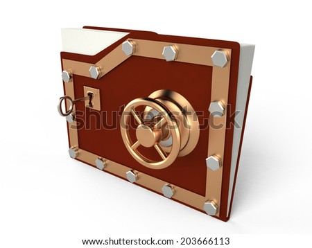 Folder and lock - Data security, 3D illustration