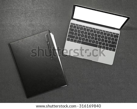 Folder and office supplies on brown leather. High resolution - stock photo