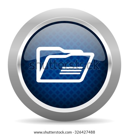 folder blue circle glossy web icon on white background, round button for internet and mobile app - stock photo