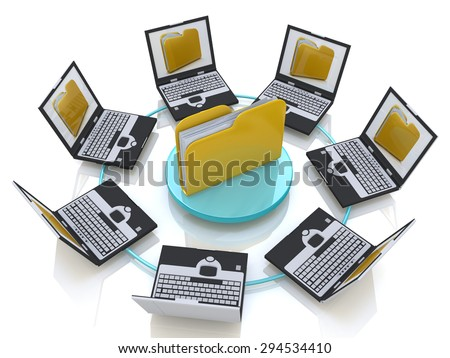 Folder connected to computer network  - stock photo