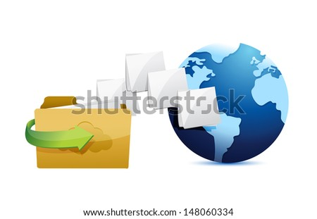 folder connected to the web. folder and globe illustration design over white - stock photo