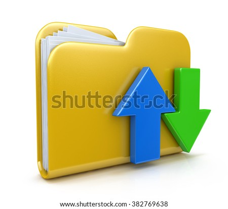 Folder 3d icon. Date transferring concepts in the design of the information related to computer technology - stock photo