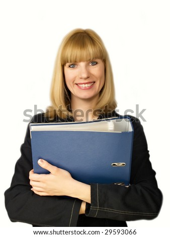 Folder for papers in hands at business of the woman in black clothes