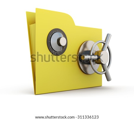 Folder for papers with safe lock isolated on white background. 3d.