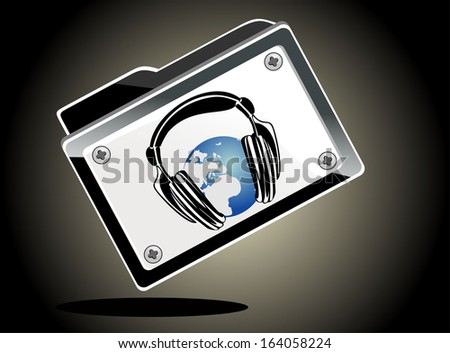 folder globe with headphones - stock photo