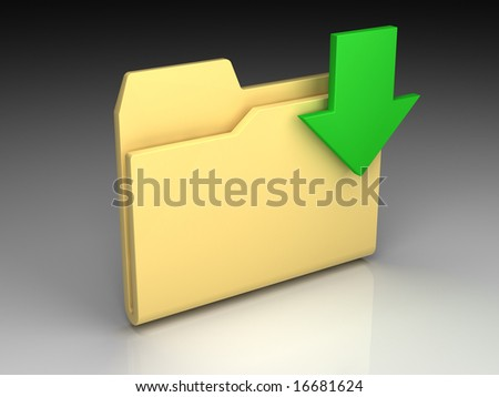Folder icon set series. Standard yellow folder with green arrow on background of the gradient - stock photo