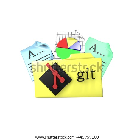 Folder icon with Git version control tool. 3d rendering - stock photo