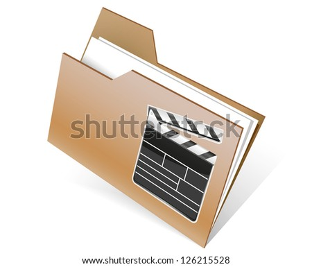 Folder icon with paper on white - stock photo