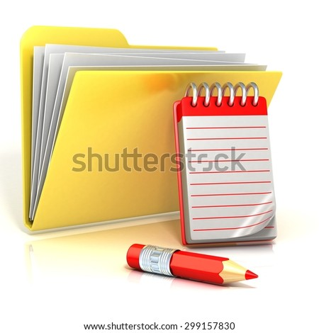 Folder icon with red pencil and notepad. 3D render illustration, isolated on white background - stock photo