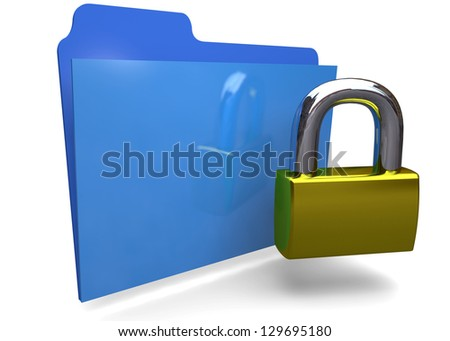 FOLDER LOCKED - 3D - stock photo