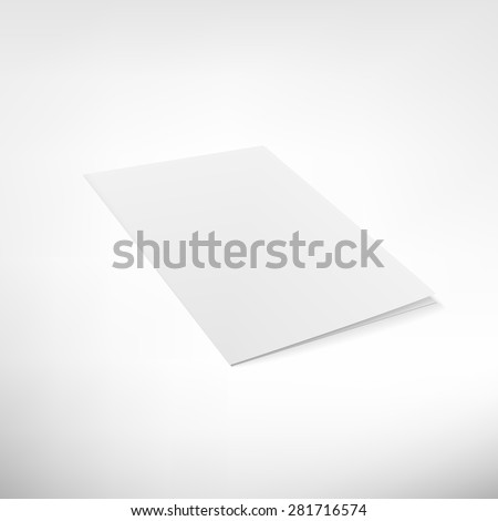Folder page on white background. Blank  brochure for business presentations