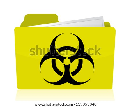 folder with a biohazard symbol in front illustration design - stock photo