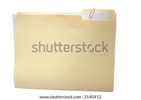 Folder with attached paper on white