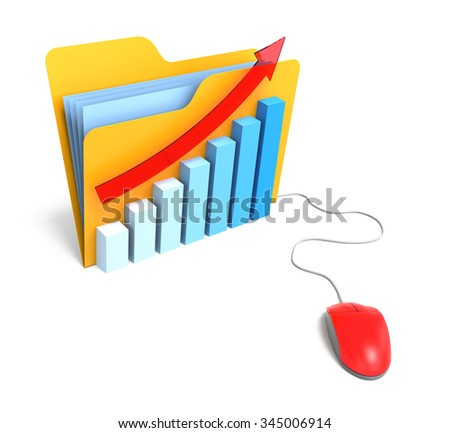 Folder with BarChart and Computer Mouse. Isolated White Background - stock photo