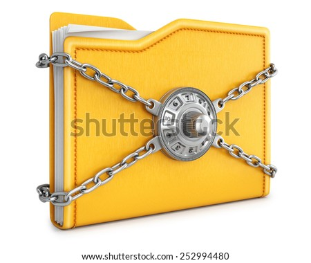 folder with chain and combination lock. isolated on white background. - stock photo