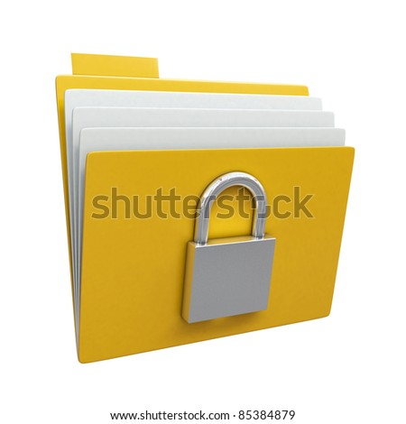 Folder with closed padlock isolated on white background - stock photo