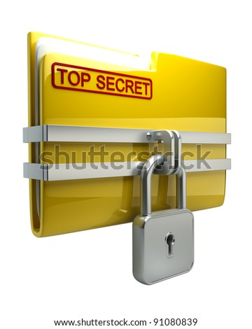 Folder with closed padlock (Top secret) isolated on white background High resolution. 3D image - stock photo